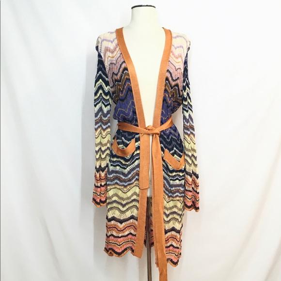 Missoni Chevron Summer Beach Knit Cardigan Tunic